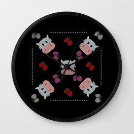 strawberry cow - black Wall Clock