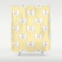 bow Shower Curtains featuring Bow by Little Owl Oddities