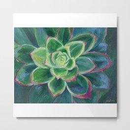 Green Succulent Plant Art Metal Print