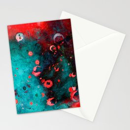 Red Turquoise Textured Abstract Stationery Cards