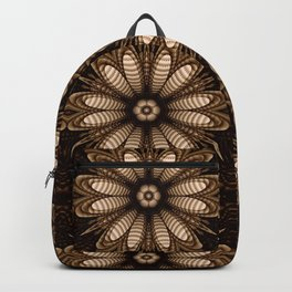 Abstract flower mandala with geometric texture Backpack