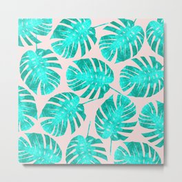 Green tropical leaves on pink background Metal Print