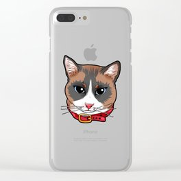 Snowshoe cat Kitty Cat face cute crazy funny comic Clear iPhone Case