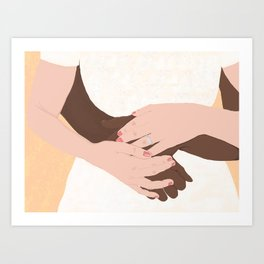 Hug, Interracial Couple Art Print
