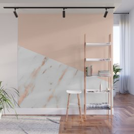 Pink Quartz and White Marble Rose Gold Wall Mural
