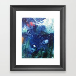 Bright Ocean Life, Tiny World Collection Framed Art Print