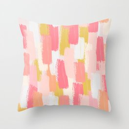 Pink and yellow Brush strokes print  Throw Pillow