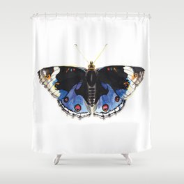 Blue Pansy Butterfly Shower Curtain
