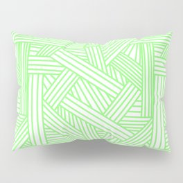Sketchy Abstract (Light Green & White Pattern) Pillow Sham