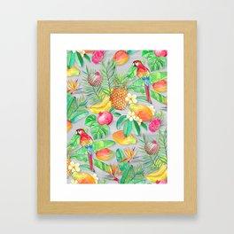 Tropical Paradise Fruit & Parrot Pattern Framed Art Print