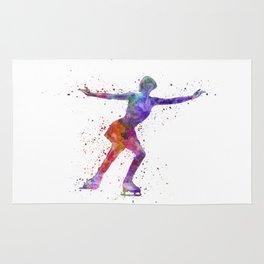 Figure skating 1 in watercolor with splatters Rug