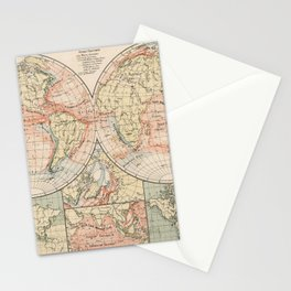 Vintage World Ocean Currents Map (1905) Stationery Cards