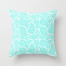 Paisley (Turquoise & White Pattern) Throw Pillow