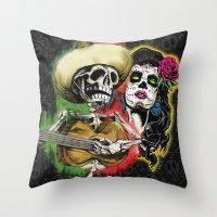 dia de los muertos Throw Pillows featuring Dia de Los Muertos by Kevin Rogerson
