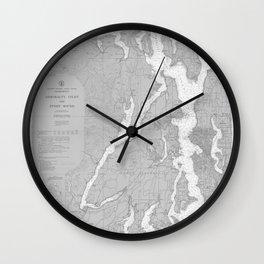Puget Sound Washington State Nautical Chart Map Print 1956, Map Art Prints Wall Clock