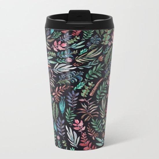 water color run leaves Metal Travel Mug