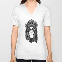 headdress V-neck T-shirts featuring Headdress by Caleb Swenson