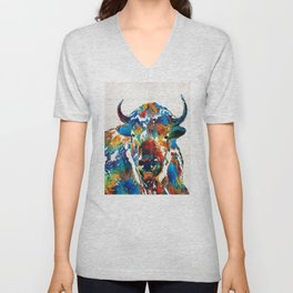 Colorful Buffalo Art - Sacred - By Sharon Cummings Unisex V-Neck