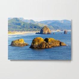 Image USA Cannon Beach Ecola State Park Crag Nature Mountains Coast Rock Cliff mountain Metal Print