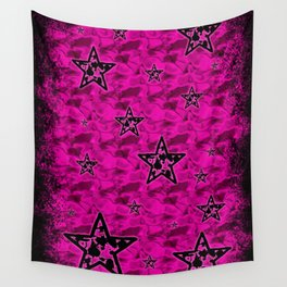 Pink Toxic Stars Wall Tapestry