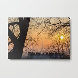 Sunset in Paris - Eiffel Tower seen from Montmartre Metal Print