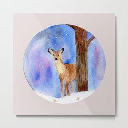 Deer in Forest Winter Painting Metal Print