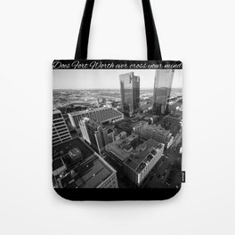 Fort Worth in Black and White Tote Bag