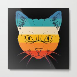 Cat with colorful retro sunset Metal Print
