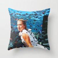 kate moss Throw Pillows featuring Kate Moss by John Turck