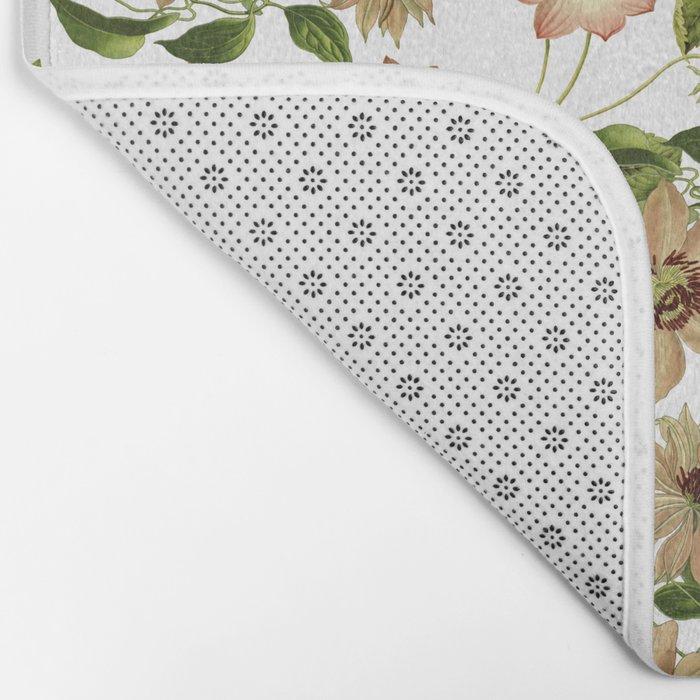Floral retro vintage pattern pastel colored Bath Mat