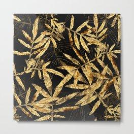 Gold leaves on black. Metal Print