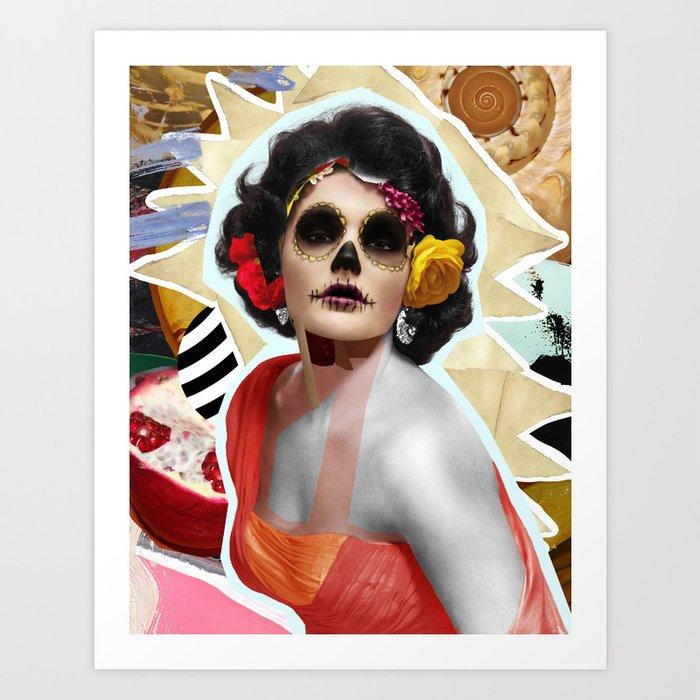 Golden Elizabeth Taylor (Sugar Skull Variant)  By Zabu Stewart Art Print