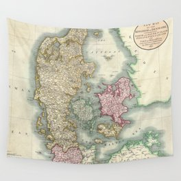 Vintage Map of Denmark (1801)  Wall Tapestry