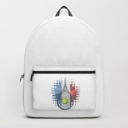 Racquet Eiffel Tower with French flag colors in background Backpack