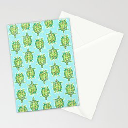 Tortoise Pattern with aqua background Stationery Cards