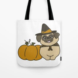 Pug-kin Patch Witch Tote Bag