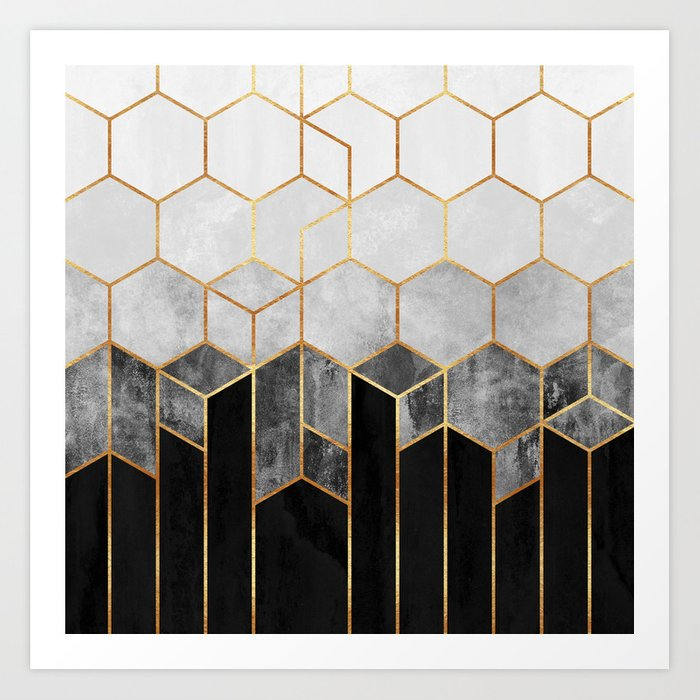 Charcoal Hexagons Kunstdrucke