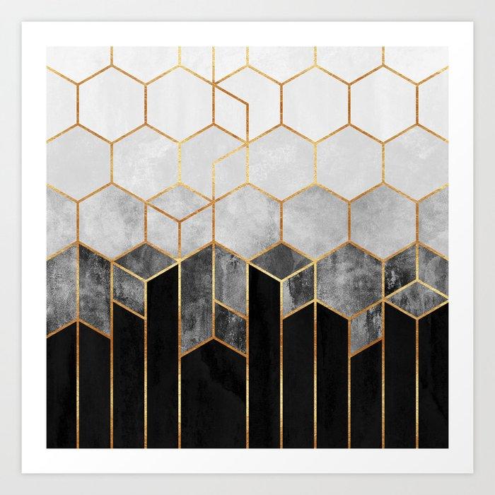 Charcoal Hexagons