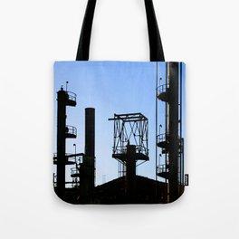 Silhouette Oil Refinery In Ventura Tote Bag