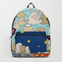 Snow Monkeys in Hot Spa Backpack