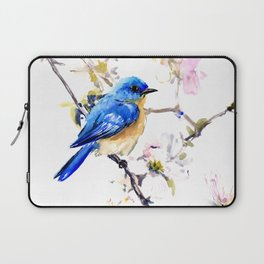 Bluebird and Dogwood, bird and flowers spring colors spring bird songbird design Laptop Sleeve