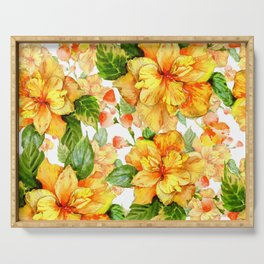 Yellow Hibiscus Tropical Continuous Floral Pattern Serving Tray