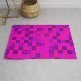 Wicker tile of pink intersecting rectangles and violet bricks. Rug