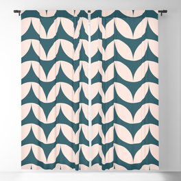 Geometric Leaf Shapes in Teal and Blush Blackout Curtain
