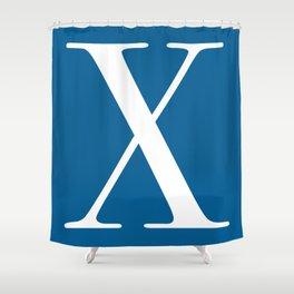 Serif X. White on Blue. Shower Curtain