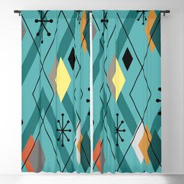 Mid Century Modern Scattered Diamonds Turquoise Blackout Curtain