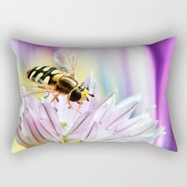 Hover fly and chive blossom Rectangular Pillow