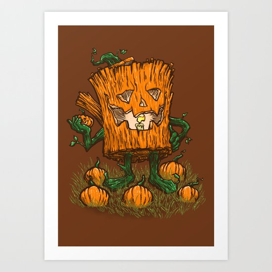 The Pumpkin Log Art Print