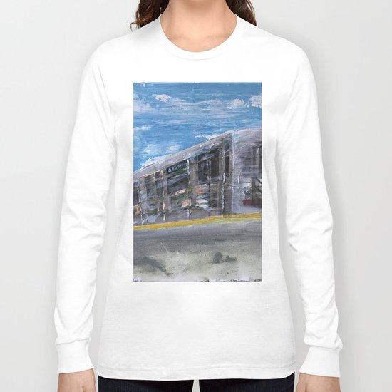 Moving A Train on NYC MTA Platform Long Sleeve T-shirt