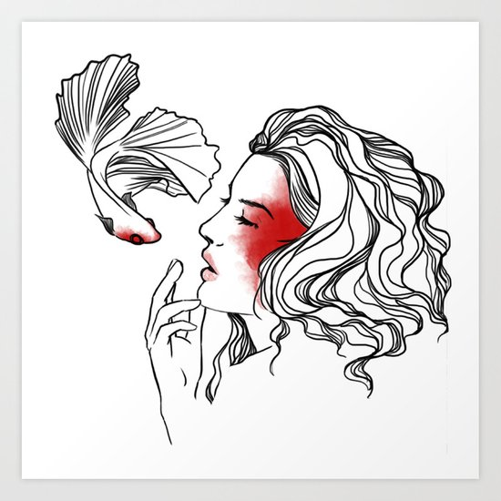 a kiss with a fish is better than none Art Print
